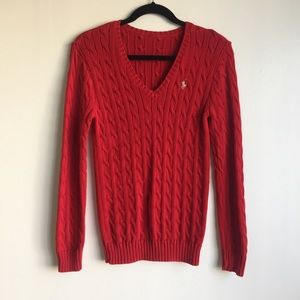 Ralph Lauren red cable net knitted sweater sz L